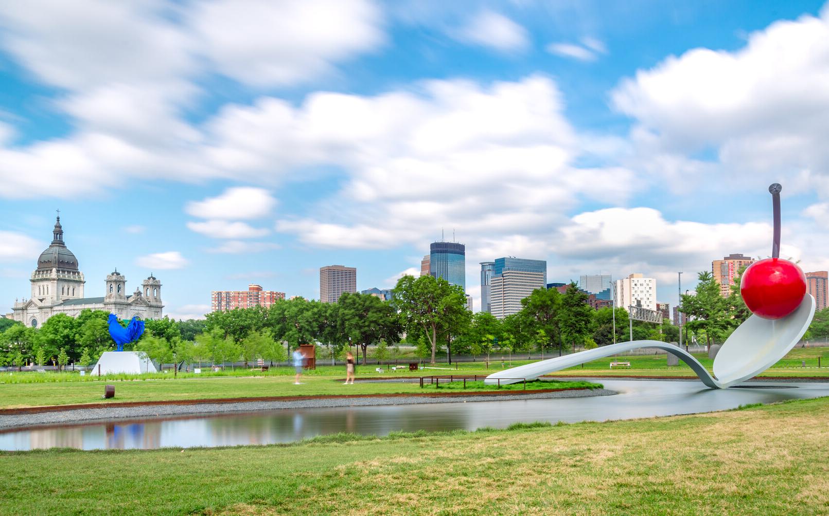 Spoonbridge and Cherry, Walker Art Center, Minneapolis. Photo by Zachary Sumners, Flickr.