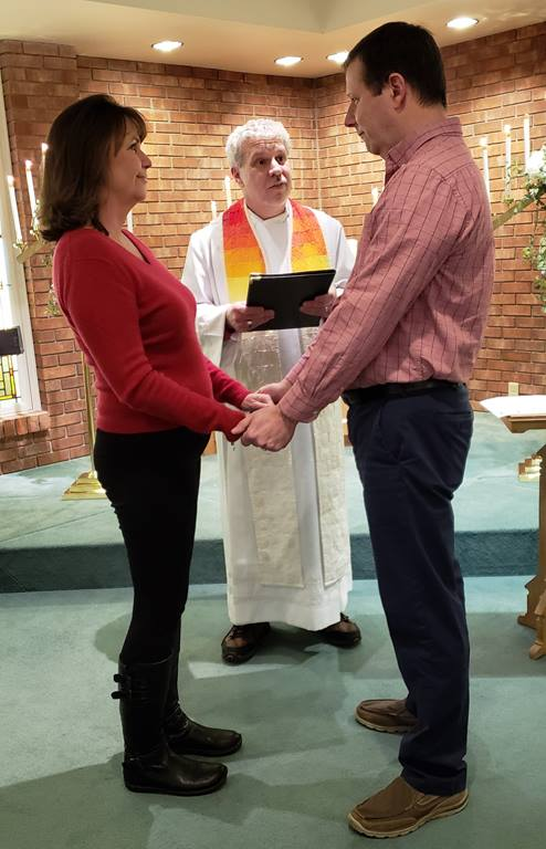 Dennis and Shelly Kelley renewing their marriage vows at First UMC in Columbus, Indiana with the Rev. Howard Boles officiating. Courtesy of First UMC. 2019.