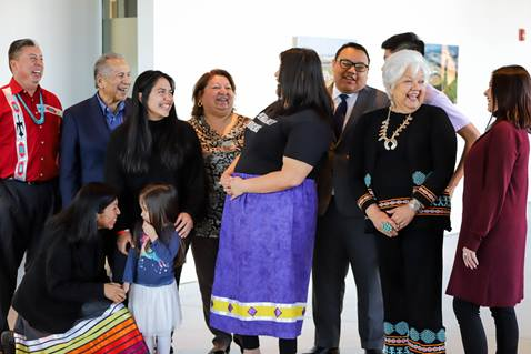 Oklahoma Indian Missionary Conference members holding a photo shoot at the First Americans Museum in Oklahoma City to promote Native American participation in the 2020 U.S. census. Courtesy of Ginny Underwood.