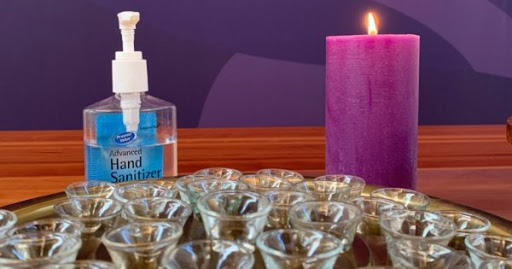 Communion cups and hand sanitizer. Courtesy of Jeremy Smith. 2020.
