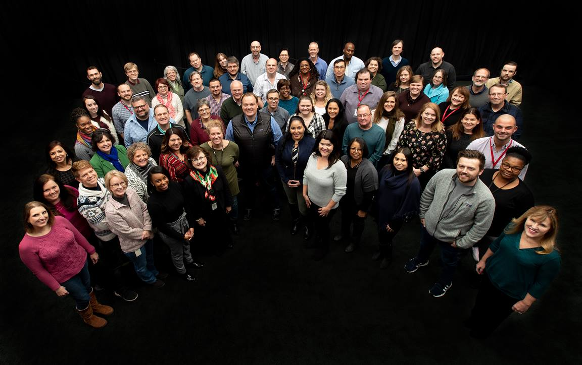 The staff of United Methodist Communications gathers for a group photo at the agency's headquarters in Nashville, Tenn. Photo by Mike DuBose, UMCom.