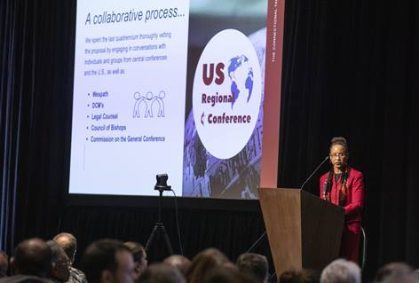 The Rev. Kennetha J. Bingham-Tsai speaks at the 2020 Pre-General Conference Briefing in Nashville, Tenn. Bingham-Tsai is the Chief Connectional Ministries Officer of the Connectional Table. Photo by Kathleen Barry, UM News.