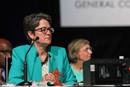 Bishop Sally Dyck presides over a discussion of the church budget during the 2016 United Methodist General Conference in Portland, Ore. With the next General Conference delayed until 2021, the board of the denomination's finance agency decided it had no choice but to continue with the apportionment formula approved in 2016. File photo by Maile Bradfield, UM News.