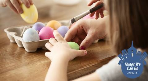Learn how to make modifications to traditional Easter and Holy Week activities for families during this time of social distancing. Image courtesy of Discipleship Ministries.