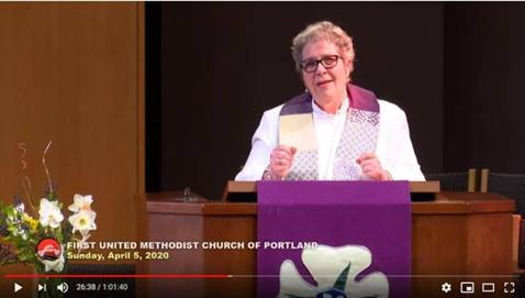 The Rev. Donna Prtichard preaches online from First United Methodist Church, Portland, Oregon. Screengrab by Crystal Caviness, UM Communications.