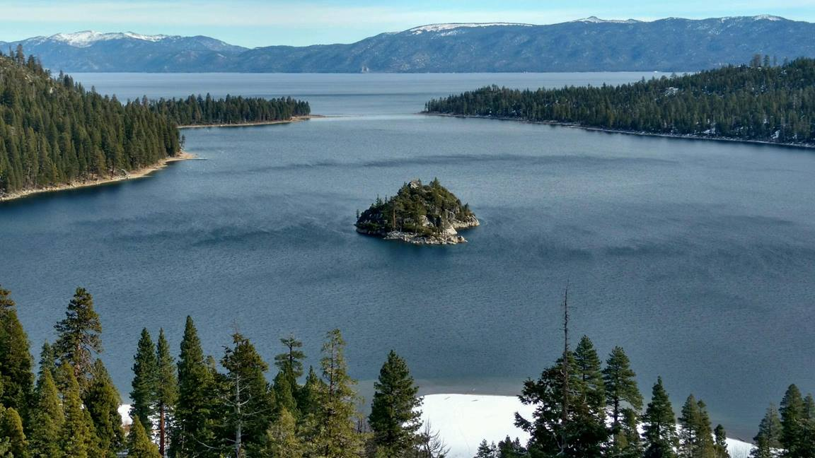 Nature scene from Emerald Bay State Park featuring Fannette Island. Photo by Kevin Smith