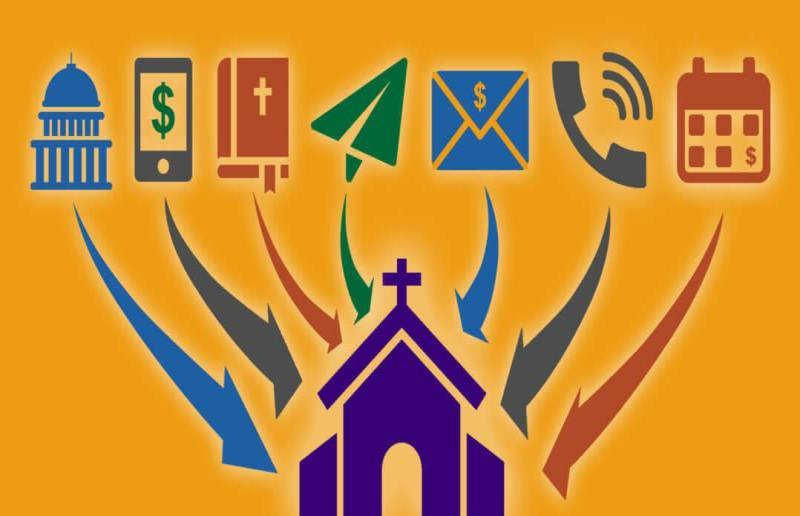 Graphic illustrating with icons 7 ways that money can flow into a church during the COVID-19 crisis. Courtesy Lewis Center for Church Leadership