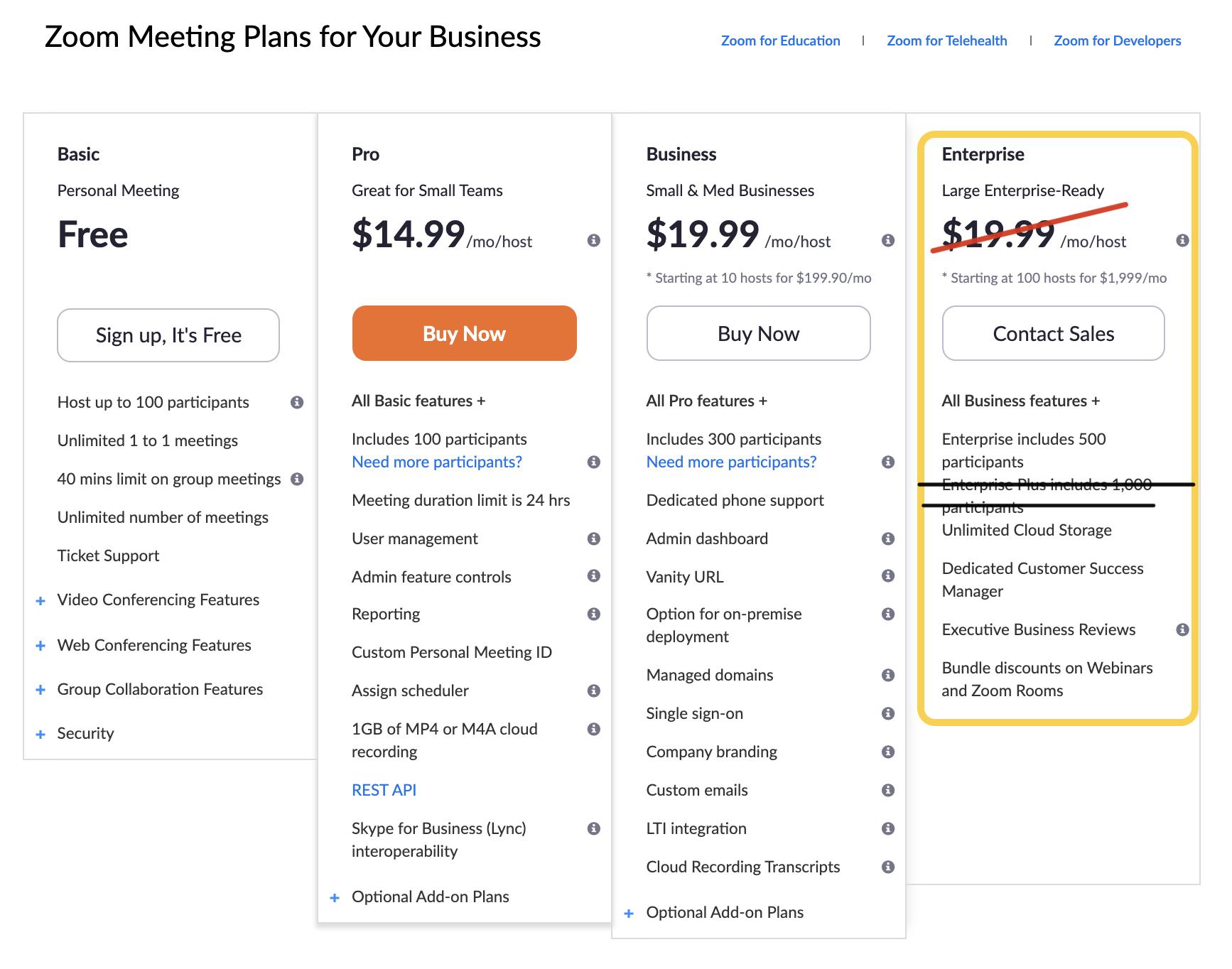 UMCom's Zoom Pricing Plan