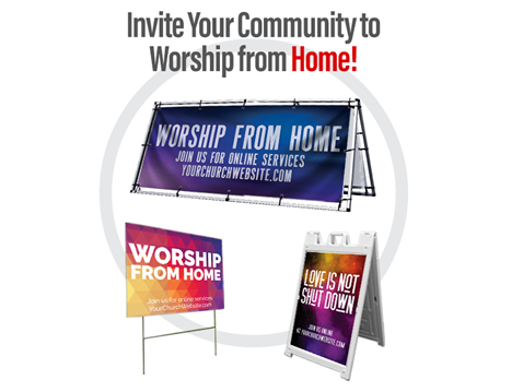 New outreach resources are now available, created specifically to help you invite your community to attend online worship services. Customize and order banners, yard signs or sandwich board signs. Image courtesy of Outreach.com.
