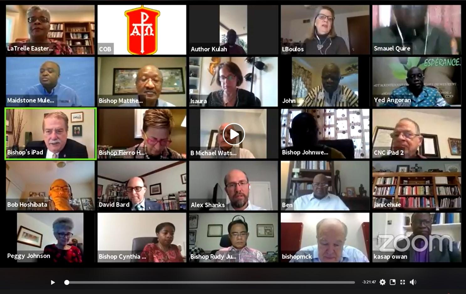 Captura de pantalla de una de las reuniones virtuales del Concilio de Obispo/as durante la pandemia de Covid19. Foto UMCOM.