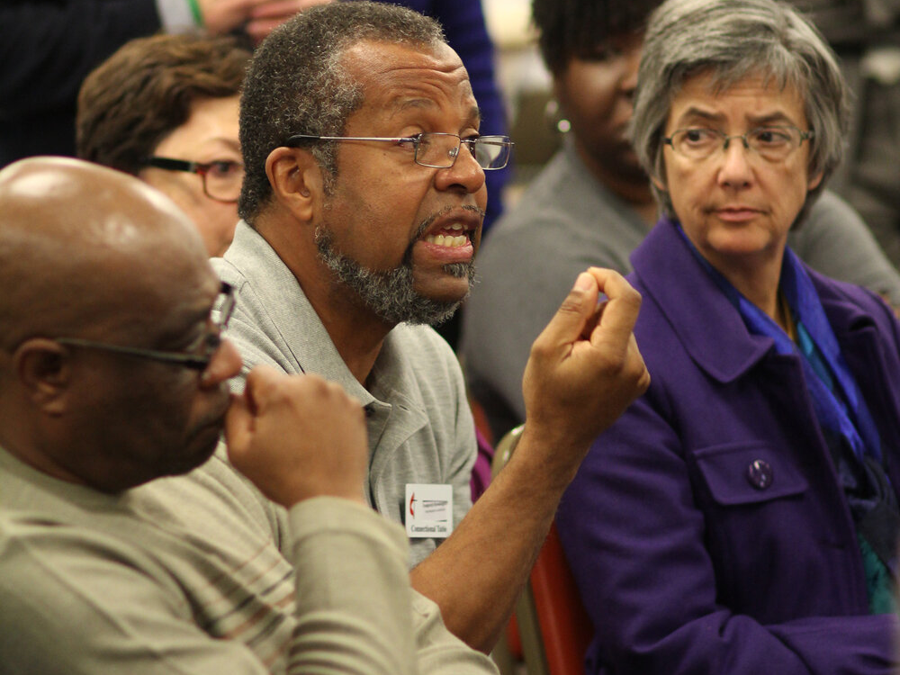 Bishop Hope Morgan Ward listens intently to the words of Fred Brewington. Participants at the fall Connectional Table meeting debate inclusiveness in The United Methodist Church in relation lesbian, gay, bisexual and transgender individuals. The meeting took place Nov. 18-20 at the United Methodist Board of Discipleship in Nashville, Tenn. Photo by Kathleen Barry, UMNS Photo by Kathleen Barry, UMNS.