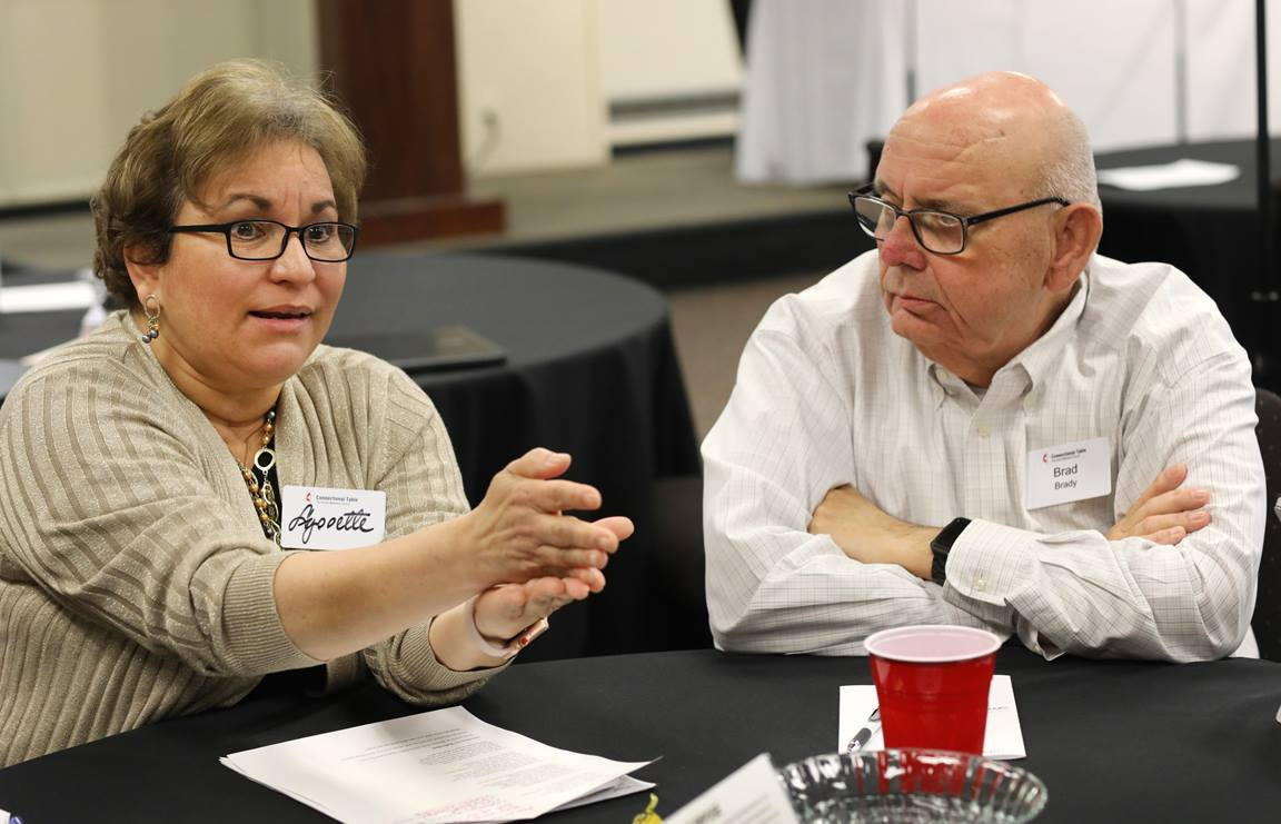 The Revs. Lyssette Perez and Brad Brady participate in discussion of church issues during the Connectional Table meeting held at United Methodist Discipleship Ministries in Nashville, Tenn., April 3. Photo by Kathleen Barry, UM News.