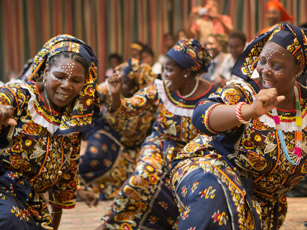 United Methodist women present a traditional dance from northern Mozambique during a meeting of the Standing Committee on Central Conference Matters and Connectional Table. Photo by Rodney Steele.