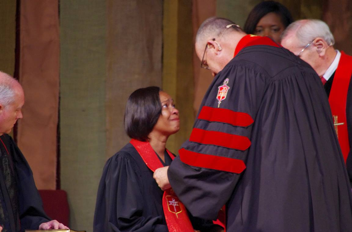 Virginia Bishop Sharma Lewis is moved as she is consecrated a bishop. The first African-American woman to be elected bishop since 2000, she  was elected on the first ballot at the 2016 Southeastern Jurisdictional Conference.  Photo by Burt Williams, Western North Carolina Conference.
