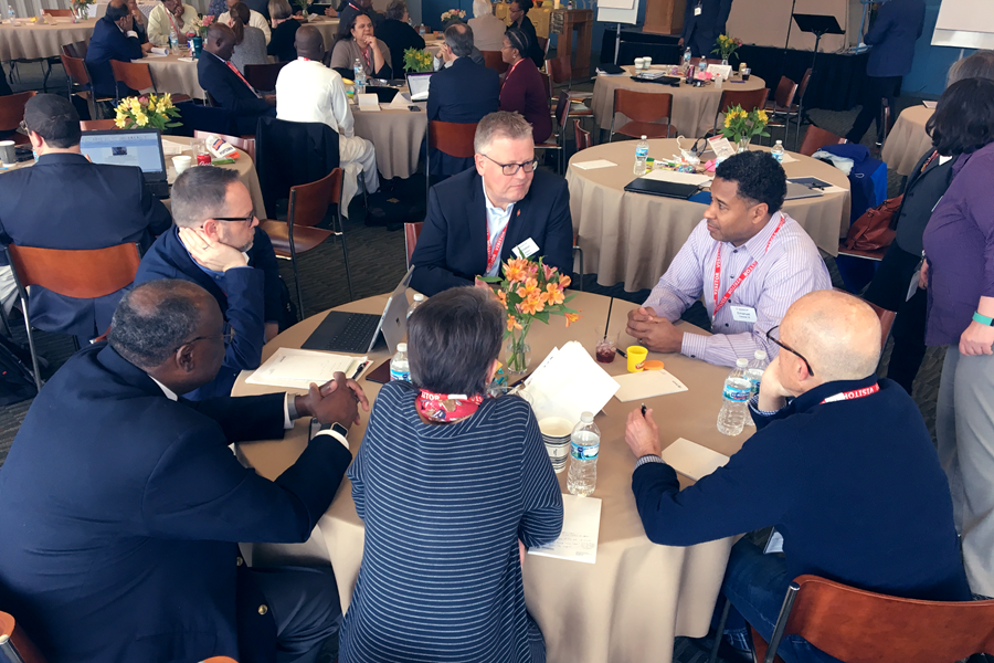 Members of the Connectional Table engage in discussion during their Spring 2018 meeting. Image courtesy of the Connectional Table.