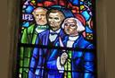 """A stained-glass window in The Cathedral of the Rockies/Boise First United Methodist Church, in Boise, Idaho, features images of Robert E. Lee (left), Abraham Lincoln and George Washington. Church leaders have decided to remove the image of Lee, given his role as a Confederate general. """"Symbols of white supremacy do not belong in our sacred space,"""" they said in a statement. Photo courtesy of The Cathedral of the Rockies."""