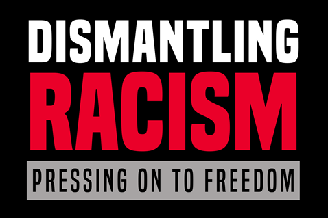 "Official logo for The United Methodist Church's ""Dismantling Racism: Pressing on to Freedom"" initiative. (Image created by United Methodist Communications.)"