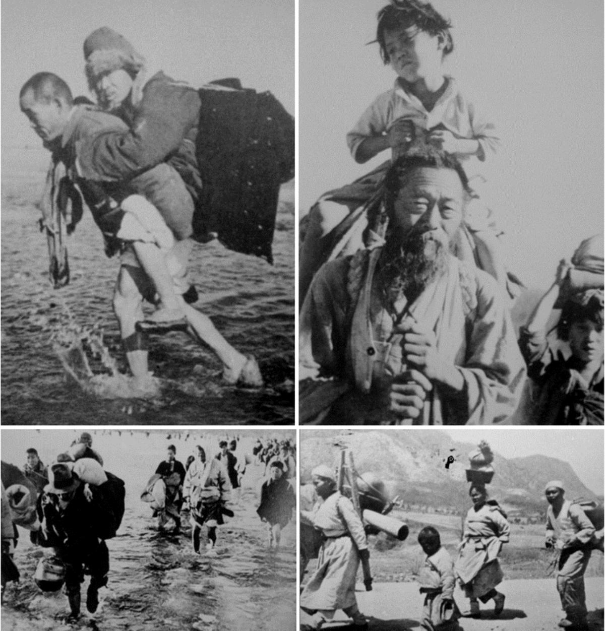 6.25 전쟁의 피난민 대열. 사진, 국가기록원 소장.