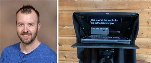 The Rev. Josh Doughty and the teleprompter he creatively made in his garage. Courtesy of the Minnesota Annual Conference.