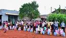 Internally displaced people line up to collect food at Ebenezer Community United Methodist Church in Yaounde, Cameroon. With a grant from the United Methodist Committee on Relief, the church distributed food and other aid to those struggling during the coronavirus pandemic. Photo courtesy Vischo Image.