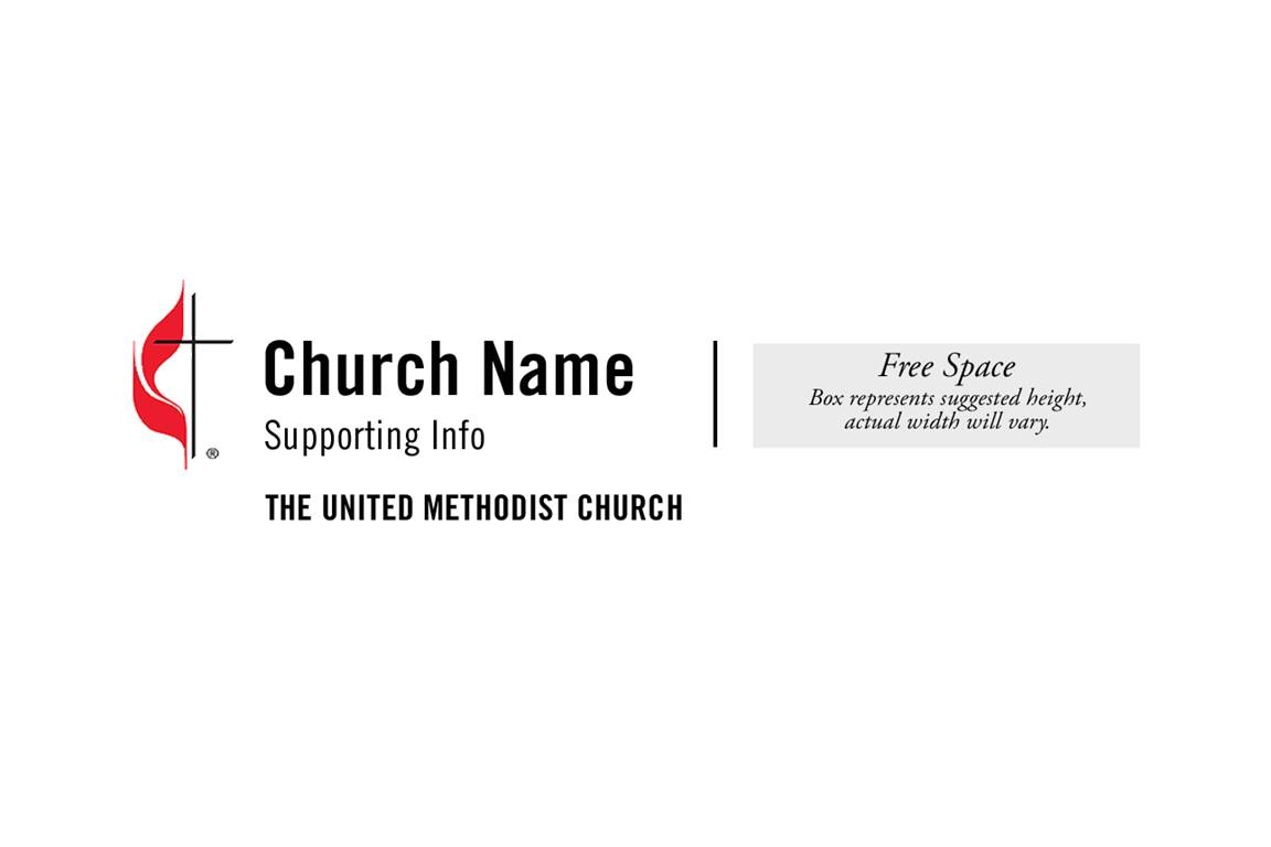 An example of the UMC-branded logo template for local churches. United Methodist Communications offers a branding and logo service to churches at no additional cost.