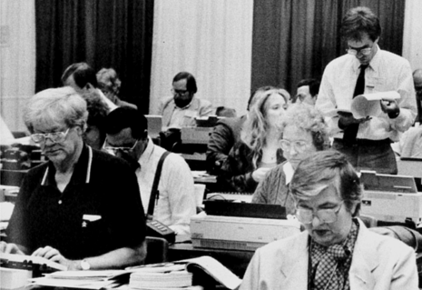 The newsroom at the 1988 General Conference in St. Louis. Photo courtesy of United Methodist Communications.