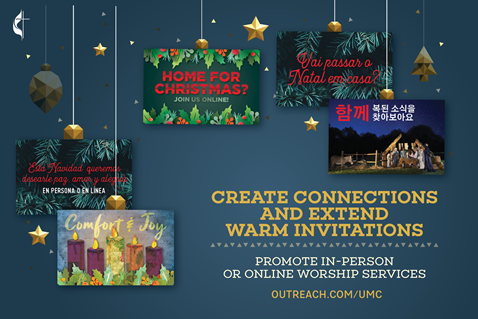 People will be yearning to connect with a loving community this Christmas. Extend warm invitations to online and/or in-person worship services with the help of customizable outreach resources, such as banners, postcards, invitation cards and more. Image by United Methodist Communications.