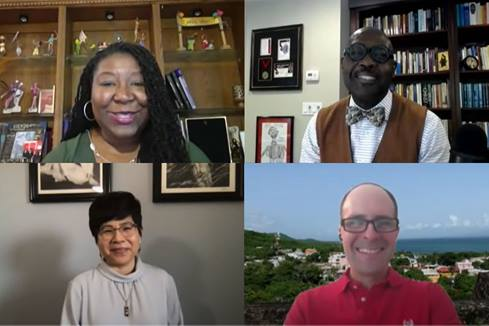 Our panel discussion on the theological roots of racism featured several theologians. Screenshot of video by United Methodist Communications.