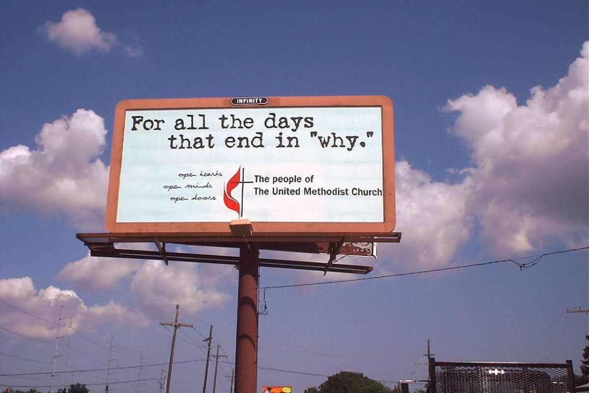 """This billboard on Airline Drive in New Orleans, a part of the United Methodist Church's """"Igniting Ministry"""" campaign, helped provide a message of comfort and strength during difficult times as Americans deal with the aftermath of the Sept. 11 attacks in New York and Washington. (A UMNS photo by Kathy C. Fitzhugh.)"""