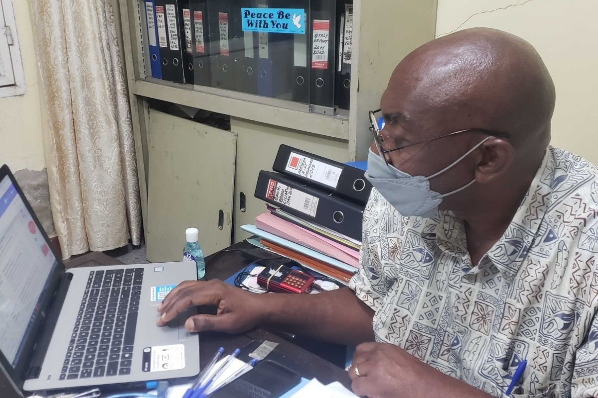 Joseph Tunda Museu, the budget coordinator of the Central Congo Eliscopal Area, has been able to stay efficient thanks to internet connectivity and Zoom provided by the Global Communications Technologies team. (Photo courtesy of United Methodist Communications)
