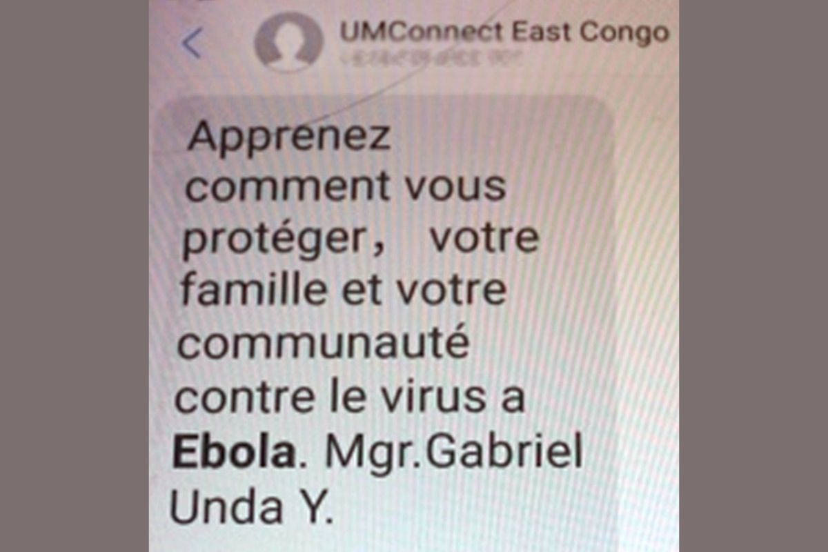 Text messages, delivered through United Methodist Communications' UMConnect system, that originated to raise awareness about Ebola prevention is now being used for COVID-19 education. (Photo by Chadrack Tambwe Londe, UM News)