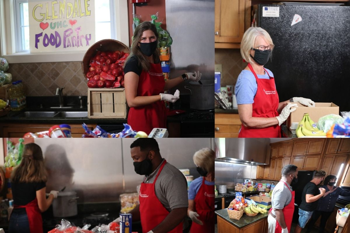 The food pantry kitchen set was abuzz with United Methodist Communications talent. Kathryn Price took over cooking, Sheila Harrison organized supplies and Helen's nephew packed things up all under the guidance of Troy Dossett and Janni Snider. (Photo by Mike DuBose)