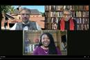 Miguel A. De La Torre (left) and the Rev. Traci C. West (right) join moderator Erin Hawkins during the latest online United Methodist panel discussion about racism. Screenshot from video by UM News.