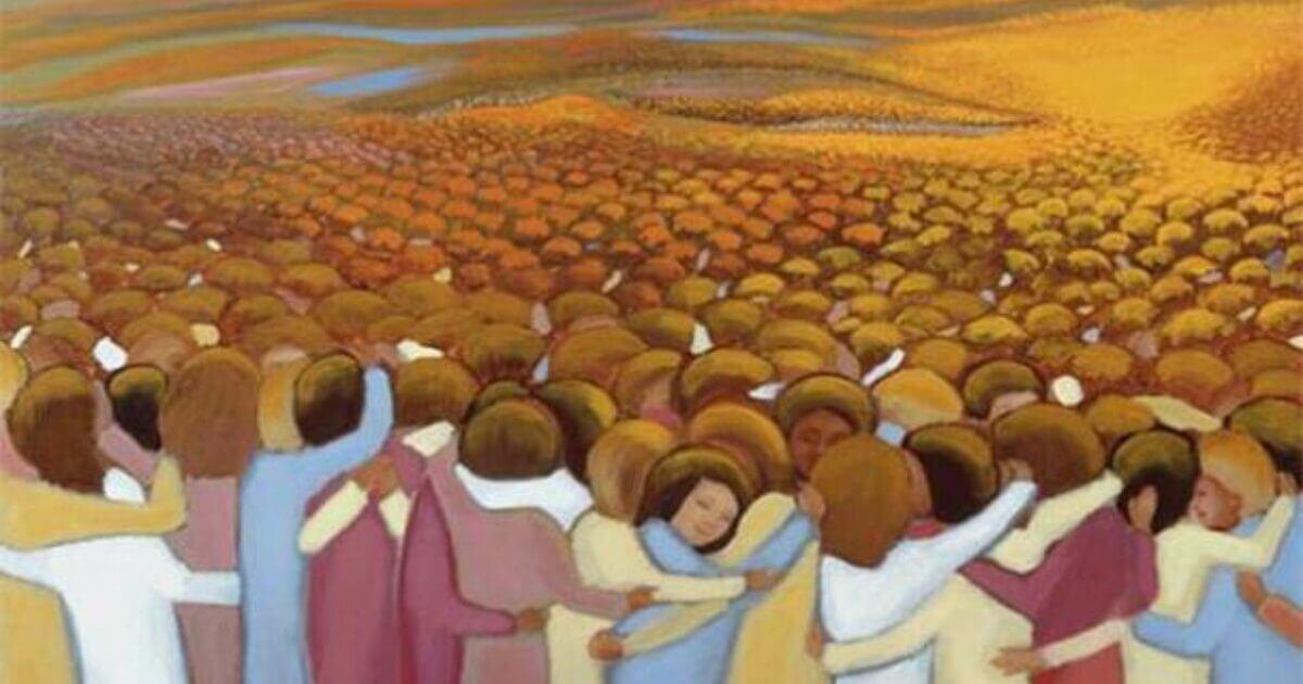 "Original artwork, ""The Communion of the Saints, for All Saints"" by Ira Thomas / www.catholicworldart.com. Courtesy Ira Thomas."