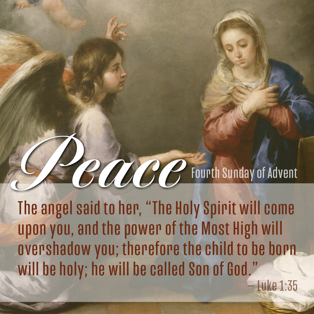 """Lectionary image for the Fourth Sunday of Advent, Year B, illustrating Luke 1:35: """"The angel said to her, 'The Holy Spirit will come upon you, and the power of the Most High will overshadow you; therefore the child to be bord will be holy; he will be called Son of God."""" Illustration by Cindy Caldwell, United Methodist Communications. Image by Bartolomé Esteban Murillo, """"Annunciation,"""" c. 1655–1660, Hermitage Museum, Russia, Wikimedia Commons, Public Domain."""