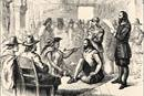 Wampanoag leader Ousamequin (left) and Plymouth Colony Gov. John Carver are depicted smoking a peace pipe as they worked out a treaty of peace and mutual protection on March 22, 1621. The U.S. Thanksgiving Day tradition has mythologized the relationship between the Wampanoag and the English settlers, but the harsher realities provide vital lessons for United Methodists today. Image from the California State Library's Sutro Library, courtesy of Wikimedia Commons.