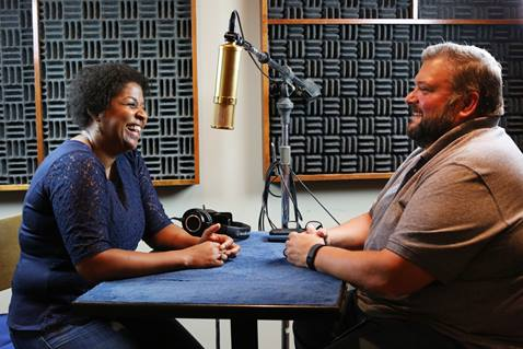 United Methodist Communications strives to engage people with dynamic content targeted to the interests of distinct audiences: seekers, members, church leaders and news.  Sheila Bates, director of student faith and leadership formation at United Methodist Higher Education & Ministry, joins Joe Iovino for a podcast in the audio studio of United Methodist Communications. Photo by Kathleen Barry, United Methodist Communications.