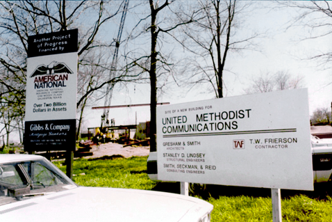 Construction begins on the Nashville offices of United Methodist Communications at 810 12th Avenue South in 1989. Courtesy of United Methodist Communications.