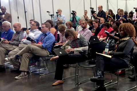 Learn more about the work of United Methodist Communications through the latest communication news and official announcements. File photo shows press conference during GC 2016 in Portland.  Courtesy of United Methodist Communications.