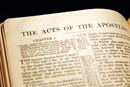 A Bible open to the Book of Acts. Image courtesy of the Connectional Table.
