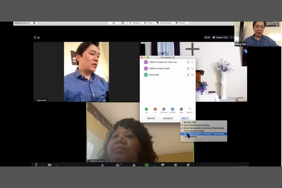 Screen grab of United Methodist Communications staff members Danny Mai (upper) and Sheila Mayfield (lower) participating in the Local Church Learning Session: Getting Started with Zoom for Worship and Small Groups. (Image courtesy of United Methodist Communications.)