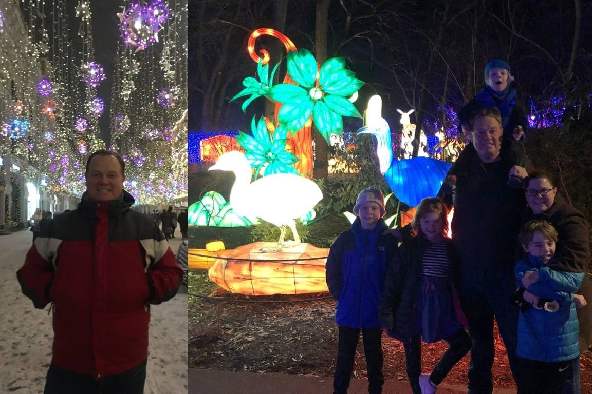 United Methodist Communications chief exec Dan Krause shares pictures of him enjoying Christmas lights both on his trip to Moscow and while visiting the Nashville Zoo with his family in 2019. (Photos courtesy of Dan Krause.)