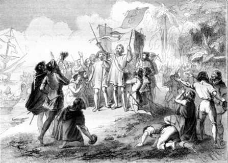 Depiction of Christopher Columbus. Courtesy of Religion and Race.