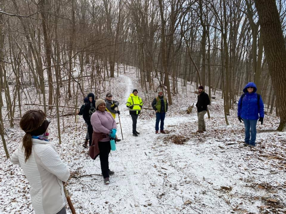 Outdoor Enthusiasts Group hiking trails in the snow. Courtesy of Amy Graham of the West Ohio Annual Conference.