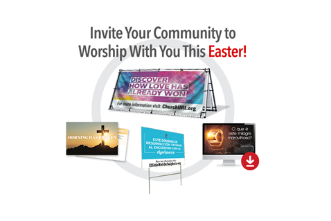 People will be yearning to connect with a loving community this Easter. Extend warm invitations to online and/or in-person worship services with the help of customizable outreach resources, such as banners, postcards, invitation cards and more. A wide variety of designs, messages and languages is available.