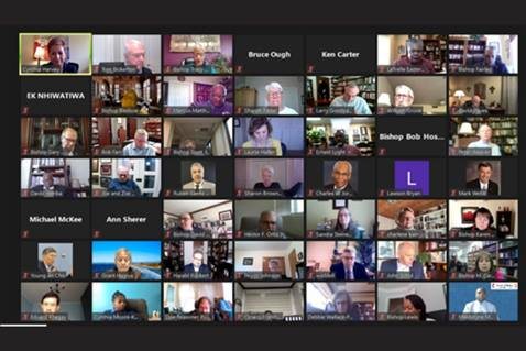 The Council of Bishops met via Zoom on Monday, March 22, 2021 online and decided to reconsider the May 8 Special Session of General Conference. (Image courtesy of the Council of Bishops.)