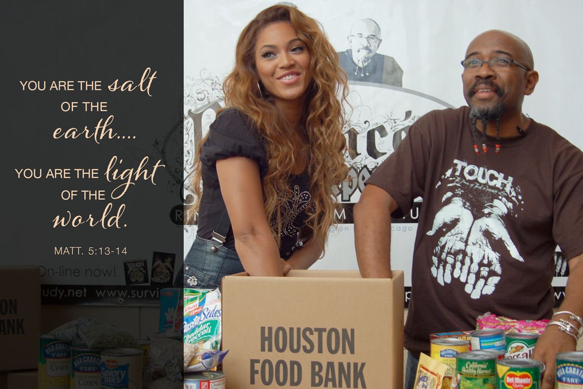 "The Rev. Rudy Rasmus, senior pastor at St. John's Downtown Church in Houston and editor of the book ""I'm Black. I'm Christian. I'm Methodist,"" at a food bank event with the singer Beyoncé, who grew up in that church. Photo courtesy of St. John's Downtown Church in Houston."