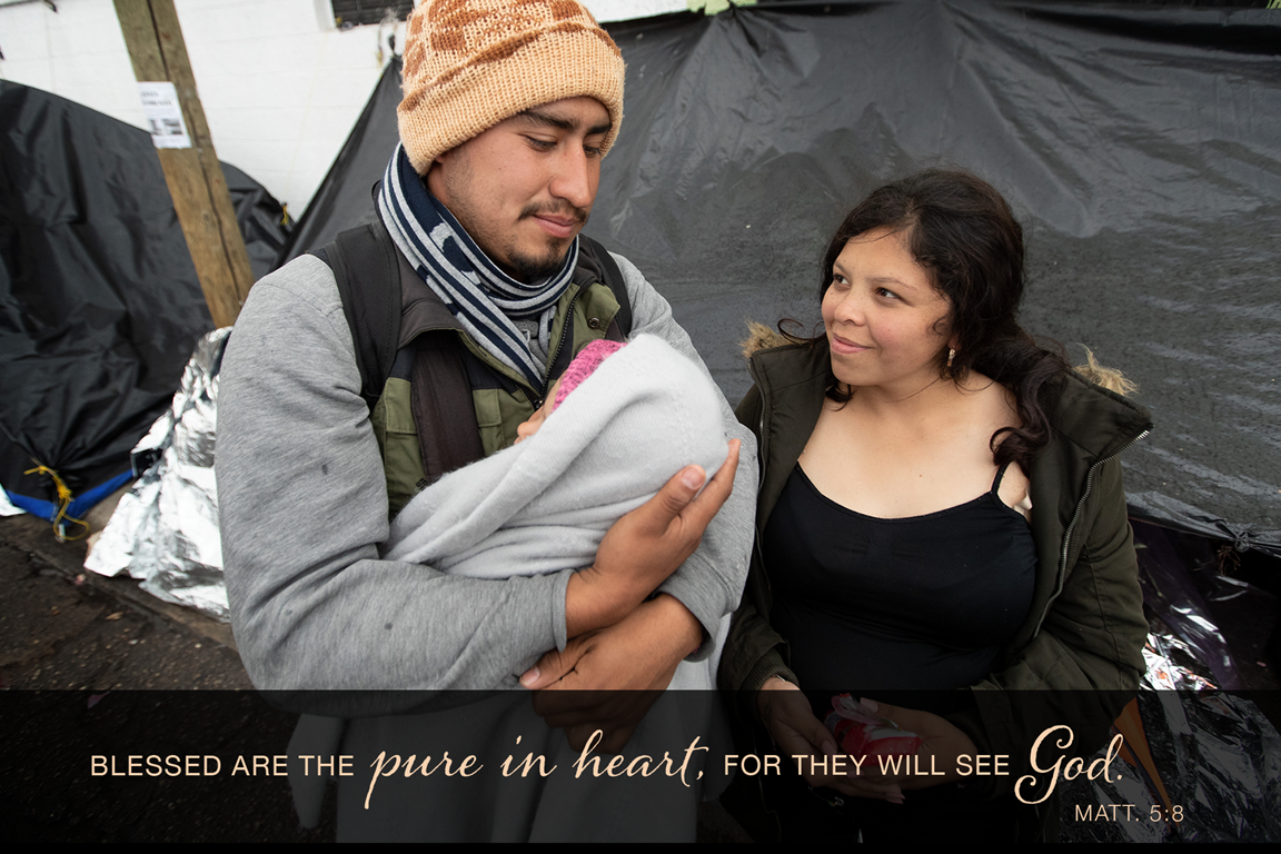 Jesús and his pregnant wife, Mariana, care for their 1-year-old daughter, Kataleya, at a tent camp in Juárez, Mexico, where they and dozens of other migrants are waiting for an appointment with U.S. immigration officials to request asylum in the U.S. The young family has been living in a two-person camping tent for two months. They are among some 16,000 asylum seekers who are stranded in Juarez following implementation of the Trump administration's Migrant Protection Protocols, which force asylum seekers to stay in Mexico while they wait for their immigration proceedings. Photo by Mike DuBose, UM News.