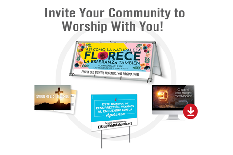 Get customizable resources to support your church as you reach out to your community. You can order print resources, such as postcards, invitation cards, banners, yard signs and posters, and download coordinating free digital tools and free social media graphics. Find seasonal resources in Spanish, Korean and Portuguese for Advent, Easter and Fall.