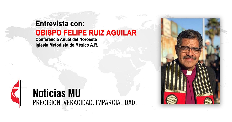 El Obispo Felipe Ruiz, presidente del Comisión Nacional de Asuntos Migratorios de la iglesia metodista mexicana, comparte las experiencias de los ministerios migratorios y analiza la situación actual en un video podcast. Fotocomposición Rev. Gustavo Vasquez, Noticias MU.